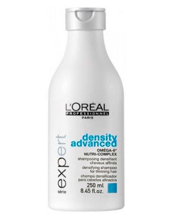Шампунь для укрепления волос Density Advanced Shampoo LorealШампунь отлично очищает локоны и стимулирует микроциркуляцию крови. Благодаря чему усиливается питание волосяных фолликулов. Волосы становятся крепкими и здоровыми!&amp;lt;br /&amp;gt;<br><br>Бренды: Loreal Professional<br>Вид товара: Шампунь<br>Область ухода: Волосы<br>Назначение: Увлажнение и питание, Восстановление волос<br>Тип кожи, волос: Осветленные, мелированные, Окрашенные, Вьющиеся, Сухие, поврежденные, Нормальные, Тонкие<br>Косметическая линия: Линия Scalp для решения проблем кожи головы и выпадения волос