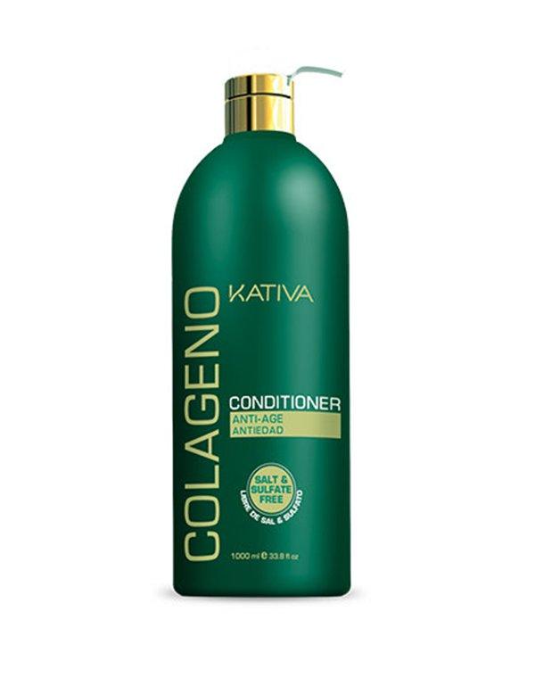 Коллагеновый кондиционер KATIVA  для всех типов волос COLAGENO, 1000 млУход за сухими волосами<br>Восстанавливающий кондиционер для всех типов волос увлажняет волосы, укрепляет их изнутри, делая более гладкими, шелковистыми и сияющими. Кондиционер рекомендуется применять с шампунем Kativa.<br><br>Бренды: Kativa<br>Вид товара: Кондиционер, бальзам<br>Область ухода: Волосы<br>Назначение: Увлажнение и питание, Ежедневный уход, Восстановление волос, Восстановление и защита<br>Тип кожи, волос: Осветленные, мелированные, Окрашенные, Вьющиеся, Сухие, поврежденные, Жирные, Нормальные, Тонкие