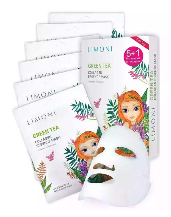 набор limoni collagen booster Набор масок для лица тонизирующих с зеленым чаем и коллагеном 6шт Green Tea Collagen Set LIMONI