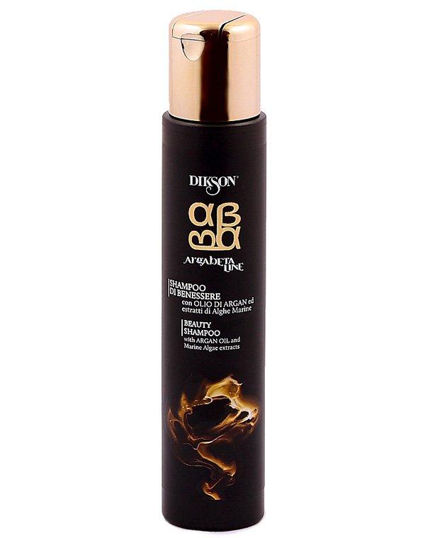 Шампунь для волос питательный Shampoo Argabeta Beauty, DiksonШампуни для сухих волос<br>Шампунь основан на целебной силе масла арганы и бета-каротина. Он разглаживает волосяной стержень, делая его эластичным и крепким. Препарат воздействует и на волосяные фолликулы, насыщая их полезными веществами.<br><br>Бренды: Dikson<br>Вид товара: Шампунь<br>Область ухода: Волосы<br>Назначение: Восстановление и защита<br>Тип кожи, волос: Осветленные, мелированные, Окрашенные, Сухие, поврежденные<br>Косметическая линия: Линия Argabeta Line Classic Luxe для ухода за всеми типами волос на осн масла арганы и бета-каротина<br>Объем мл: 500