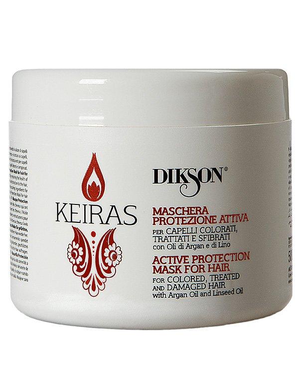 Маска Активная Защита для окрашенных волос Maschera Protezione Attiva, DiksonМаска восстановит естественную силу, гладкость и сияние локонов. Она вернет им здоровье и утраченную красоту.<br><br>Бренды: Dikson<br>Вид товара: Шампунь, Сыворотка, флюид<br>Область ухода: Волосы<br>Назначение: Защита цвета, Восстановление и защита<br>Тип кожи, волос: Окрашенные, Осветленные, мелированные<br>Косметическая линия: Линия Keiras Colored Hair ухода за окрашенными волосами<br>Объем мл: 250