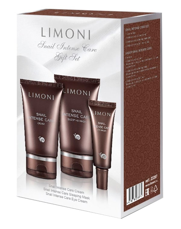 Купить Косметический набор Limoni, Набор для лица Snail Intense Care Set (Cream 50ml+Eye Cream 25 ml + Sleeping Mask 50 ml), Limoni