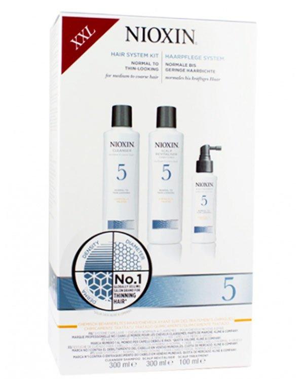 Набор XXL система 5 NioxinШампуни для сухих волос<br>Программа для восстановления поврежденных прядей после химической обработки, подходит для нормальных и жестких волос.<br><br>Бренды: Nioxin<br>Вид товара: Шампунь, Кондиционер, бальзам, Маска для волос<br>Область ухода: Волосы<br>Назначение: Увлажнение и питание, От выпадения волос, Стимуляция роста, Очищение волос, Для объема<br>Тип кожи, волос: Осветленные, мелированные, Окрашенные, Сухие, поврежденные, Нормальные, Тонкие<br>Косметическая линия: Линия Система 5 Для средних жестких химобработанных /натуральных нормальных/с тенденцией к выпадению