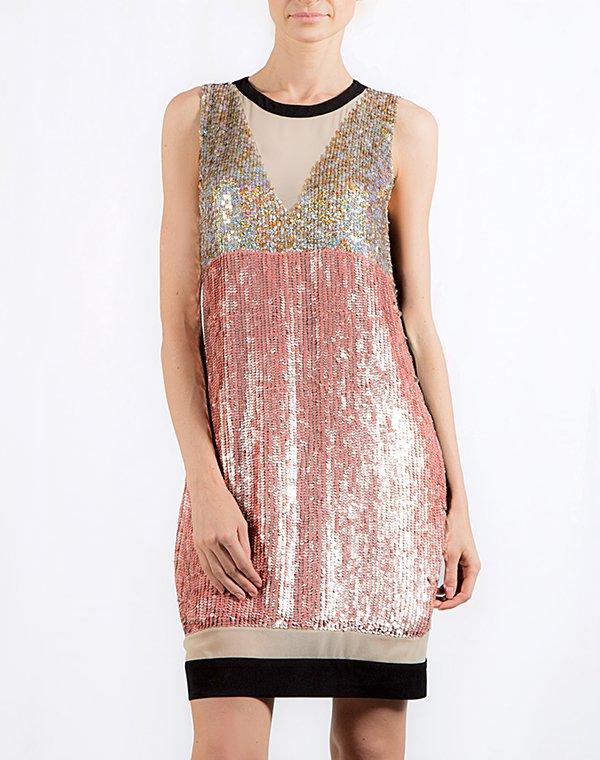 Pinko Платье черное с пайетками розово-золотыми Babette