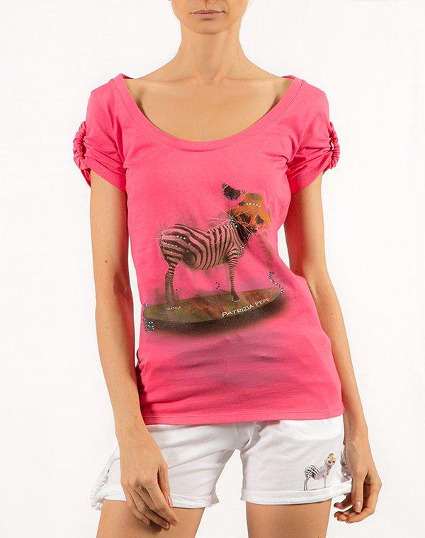 Patrizia Pepe футболка розовая с принтом BEACHWEAR