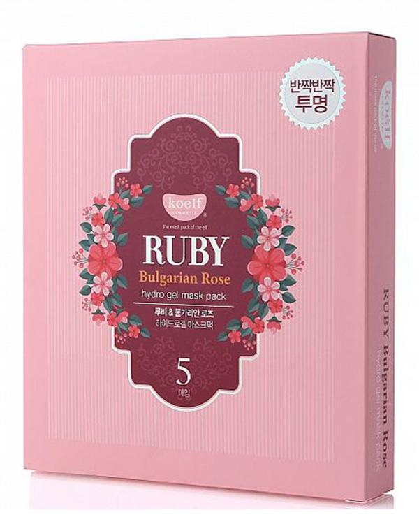 Набор гидрогелевых масок для лица с экстрактом болгарской розы Ruby & Bulgarian rose mask, Koelf, 5 шт набор масок с черникой frudia blueberry hydrating mask set