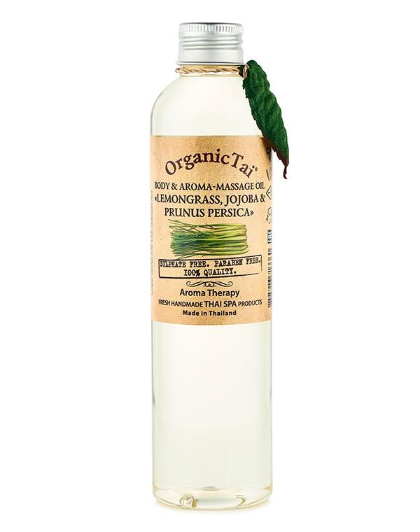 купить Масло для тела и аромамассажа «Лемонграсс жожоба и персик» Organic Tai, 260 мл по цене 1290 рублей
