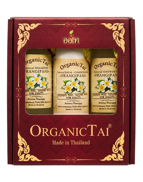 Набор: Шампунь для волос + Бальзам-кондиционер Гель душа «Франжипани», Organic Tai