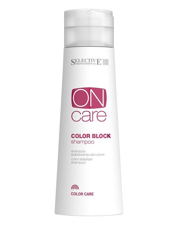 Шампунь для стабилизации цвета Color Block, SelectiveШампуни для окрашеных волос<br>Шампунь для стабилизации цвета от Selective предохраняет от потери насыщенности косметического оттенка. Интенсивно увлажняет ослабленные волосы, насыщает их питательными элементами, придает блеск и мягкость.<br><br>Бренды: Selective<br>Вид товара: Шампунь<br>Область ухода: Волосы<br>Назначение: Восстановление волос, Защита цвета<br>Тип кожи, волос: Окрашенные, Осветленные, мелированные<br>Косметическая линия: ON CARE Tech Линия для окрашенных волос<br>Объем мл: 750