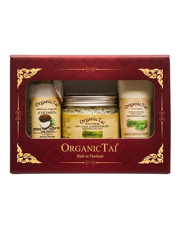 Набор: Скраб для тела Лемонграсс + Масло Кокоса Крем ног и мята, Organic Tai