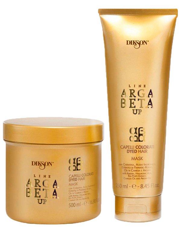 Маска для волос DiksonМаски для окрашеных волос<br>Благодаря кремообразной и плотной текстуре, идеально подходит для ухода за окрашенными волосами. Помогает сохранять яркость и блеск, делая волосы мягкими и густыми.<br><br>Бренды: Dikson<br>Вид товара: Маска для волос<br>Область ухода: Волосы<br>Назначение: Увлажнение и питание, Защита цвета, Восстановление и защита<br>Тип кожи, волос: Осветленные, мелированные, Окрашенные, Сухие, поврежденные<br>Косметическая линия: Линия Argabeta Up Color для окрашенных волос<br>Объем мл: 250