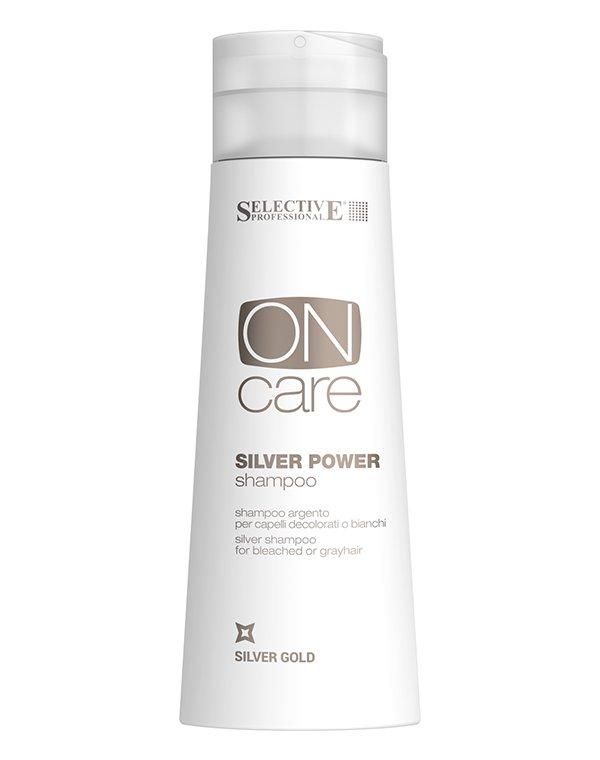 Шампунь SelectiveШампуни для окрашеных волос<br>Шампунь Silver Power заботится об окрашенных и седых волосах, мягко очищая загрязнения и восстанавливая поврежденную структуру. Глубоко питает и насыщает пряди, смягчая их. Средство деликатно корректирует цвет. Не содержит в своем составе сульфатные соеди...<br><br>Бренды: Selective<br>Вид товара: Шампунь<br>Область ухода: Волосы<br>Назначение: Защита цвета<br>Тип кожи, волос: Окрашенные, Осветленные, мелированные<br>Косметическая линия: ON CARE Tech Линия для окрашенных волос<br>Объем мл: 1000
