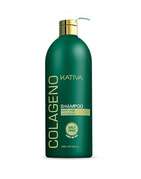 Коллагеновый шампунь KATIVA для всех типов волос COLAGENO, 1000 млШампуни для окрашеных волос<br>Профессиональный ухаживающий шампунь Kativa для всех типов волос с коллагеновым комплексом, который восстанавливает структуру, улучшает качество и внешний вид волос, дарит шелковистый блеск.<br><br>Бренды: Kativa<br>Вид товара: Шампунь<br>Область ухода: Волосы<br>Назначение: Увлажнение и питание, Ежедневный уход, Восстановление волос, Очищение волос, Восстановление и защита<br>Тип кожи, волос: Осветленные, мелированные, Окрашенные, Вьющиеся, Сухие, поврежденные, Жирные, Нормальные, Тонкие