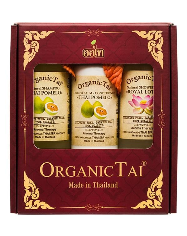 Набор: Шампунь + Бальзам-кондиционер Тайский помело + Гель для душа Королевский лотос, Organic Tai цена и фото