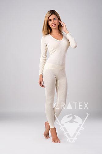Термобелье CRATEXТермобелье женское<br>Женские брюки с пухом ангорского кролика - это тонкое и уютное белье для повседневной носки, которое превосходно сохраняет тепло, обладает хорошей гигроскопичностью, предотвращает охлаждение тела. &amp;lt;br /&amp;gt;<br><br>Бренды: CRATEX<br>Вид товара: Термобелье<br>Размер INT: S (44-46)<br>Цвет: Белый