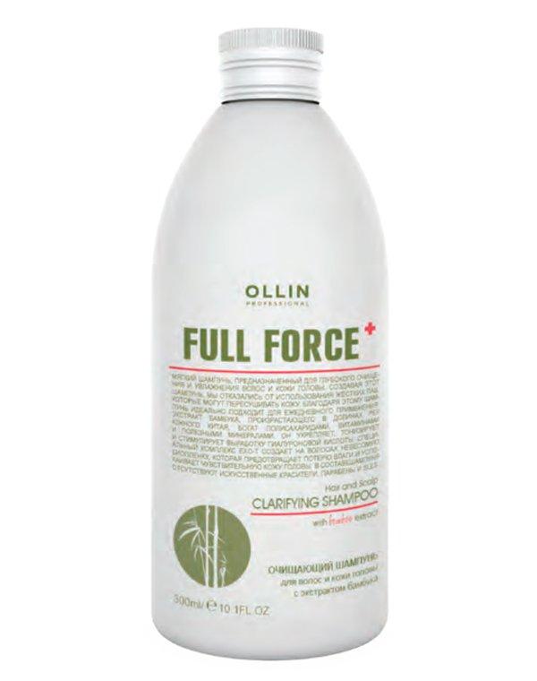 Шампунь очищающий для волос и кожи головы с экстрактом бамбука OllinШампуни для сухих волос<br>Улучшает качество волос, восстанавливает структуру, защищает от разрушений.<br><br>Бренды: Ollin<br>Вид товара: Шампунь<br>Область ухода: Волосы<br>Назначение: Увлажнение и питание, Очищение волос<br>Тип кожи, волос: Осветленные, мелированные, Окрашенные, Сухие, поврежденные, Жирные, Нормальные<br>Косметическая линия: Линия Full Force комплексный ухода за волосами