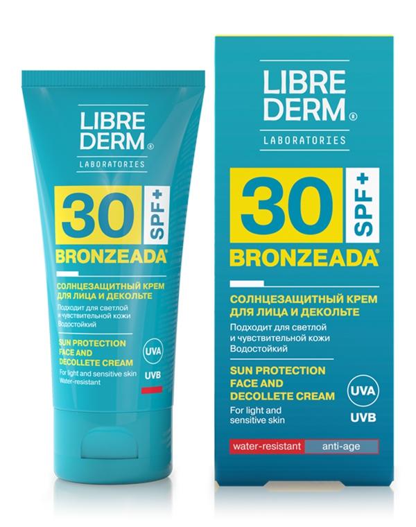 Крем для лица и зоны декольте солнцезащитный SPF30 Bronzeada, Librederm, 50 мл gigi крем солнцезащитный с защитой днк spf30 для сухой кожи 75 мл