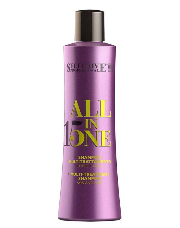 Шампунь для всех типов волос ALL IN ONE, SelectiveШампуни для сухих волос<br>Шампунь всестороннего действия для ухода за волосами всех типов. Отлично ухаживает за окрашенными волосами, сохраняя цвет. Придает объем, подготавливает волосы к укладке. Положительно влияет на протеин волоса, укрепляя его и увеличивая прочность, облегчае...<br>