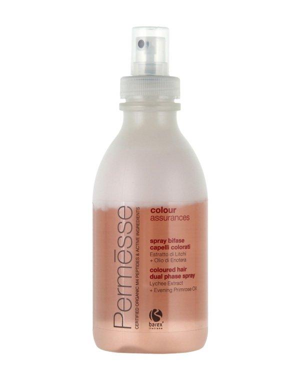 Несмываемый уход, защита BarexБальзамы для окрашеных волос<br>Рекомендован для окрашенных волос. Спрей состоит из двух фаз для восстановления и ухода за прядями. Перед применением взболтать.<br><br>Бренды: Barex<br>Вид товара: Несмываемый уход, защита<br>Область ухода: Волосы<br>Назначение: Восстановление волос, Защита цвета, Органический уход<br>Тип кожи, волос: Осветленные, мелированные, Окрашенные, Тонкие<br>Косметическая линия: PERMESSE Линия уход за окрашенными волосами