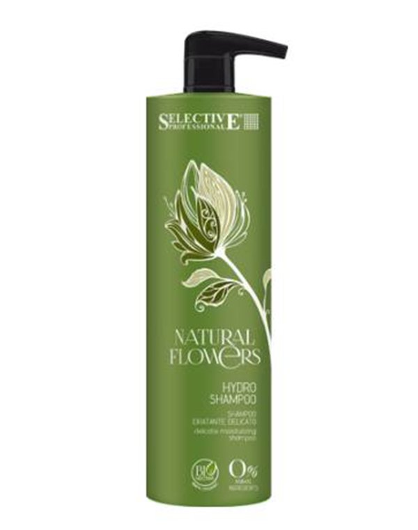 Шампунь SelectiveШампуни для лечения волос<br>Аква шампунь Natural flowers прекрасно тонизирует и увлажняет. Наличие бионектара в составе позволяем ему деликатно удалять загрязнения, придает волосам мягкость и дополнительный объем. Подходит для ухода за волосами всех типов. Может использоваться ежедн...<br><br>Бренды: Selective<br>Вид товара: Шампунь<br>Область ухода: Волосы<br>Назначение: Для объема<br>Тип кожи, волос: Осветленные, мелированные, Окрашенные, Вьющиеся, Сухие, поврежденные, Жирные, Нормальные, Тонкие<br>Косметическая линия: Natural flowers Линия с бионектаром<br>Объем мл: 250