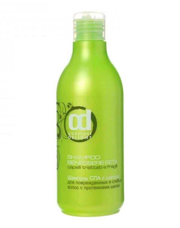 Шампунь Constant DelightШампуни для лечения волос<br>Шампунь используется для придания локонам естественного шелкового сияния и невероятной мягкости. Он сделает пряди более объемными и эластичными. Препарат применяется на начальном этапе ламинирования, позволяя максимально полноценно подготовить волосы к во...<br><br>Бренды: Constant Delight<br>Вид товара: Шампунь<br>Область ухода: Волосы<br>Назначение: Восстановление и защита<br>Тип кожи, волос: Осветленные, мелированные, Окрашенные, Вьющиеся, Сухие, поврежденные, Жирные, Нормальные, Тонкие<br>Косметическая линия: SPA Линия Мальва Антистресс