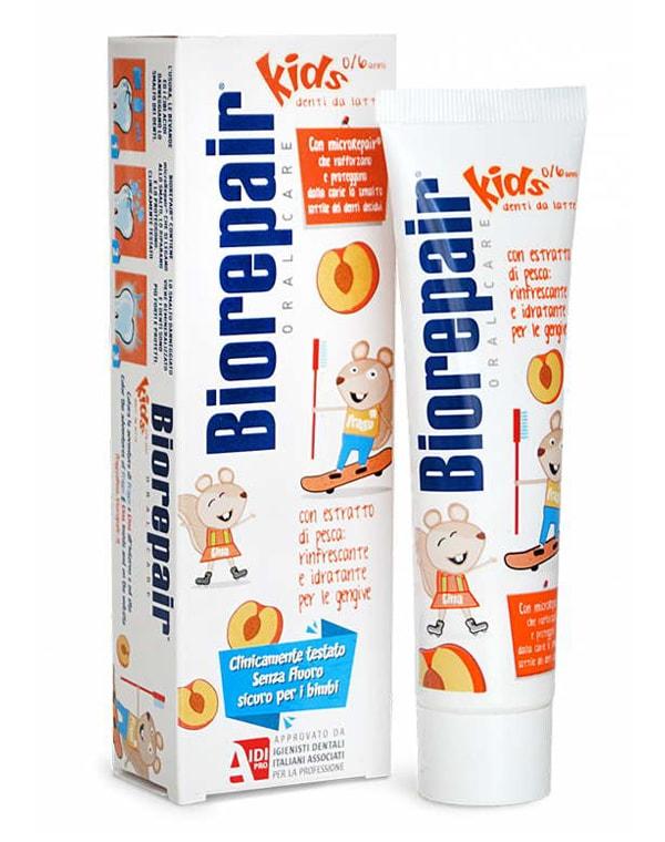Зубная паста детская персик (от 0 до 6 лет), Biorepair Kids, 50 мл chicco зубная паста chicco детская клубника 50 мл