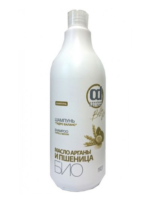 Шампунь Constant DelightШампуни для лечения волос<br>Мягкий шампунь направлен на глубокое увлажнение кожных покровов головы и волос. Он обогащен маслами арганы и пшеницы. Препарат наполнит сухие и жесткие локоны влагой, сделает их послушными, шелковистыми и мягкими.<br><br>Бренды: Constant Delight<br>Вид товара: Шампунь<br>Область ухода: Волосы<br>Назначение: Увлажнение и питание, Интенсивный уход, Ежедневный уход<br>Тип кожи, волос: Осветленные, мелированные, Окрашенные, Вьющиеся, Сухие, поврежденные, Жирные, Нормальные, Тонкие<br>Косметическая линия: Bio Grano Линия гидро баланс био<br>Объем мл: 1000