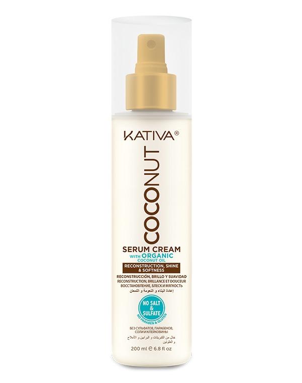 Восстанавливающая сыворотка с органическим кокосовым маслом для поврежденных волос Coconut, Kativa