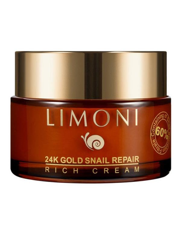 Крем для лица с золотом и экстрактом слизи улитки 24K Gold Snail Repair Rich Cream Limoni, 50 мл