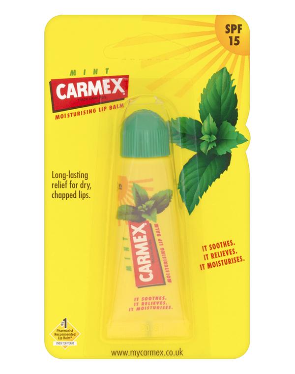 Бальзам CARMEX Солнцезащитный и увлажняющий бальзам для губ SPF 15 с запахом мяты, туба в блистере, CARMEX