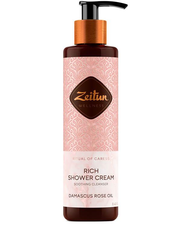 Купить Крем, бальзам Zeitun, Крем для душа смягчающий Ритуал нежности с дамасской розой и маслом персика Zeitun