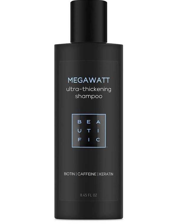 Шампунь для ультра-объема и густоты волос с биотином, кофеином и кератином Megawatt Beautific