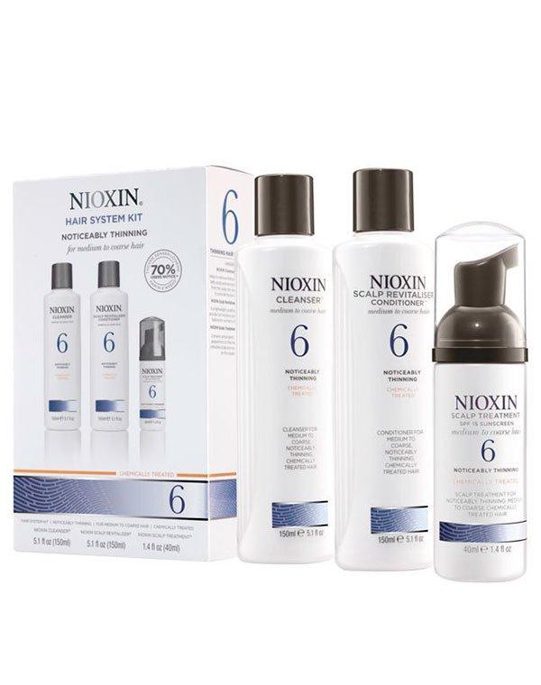 Шампунь NioxinШампуни для лечения волос<br>Трёхкомпонентный набор для жёстких и нормальных волос, подвергавшихся окрашиванию.<br><br>Бренды: Nioxin<br>Вид товара: Шампунь, Кондиционер, бальзам, Маска для волос<br>Область ухода: Волосы<br>Назначение: Увлажнение и питание, Для объема<br>Тип кожи, волос: Осветленные, мелированные, Окрашенные, Сухие, поврежденные, Нормальные<br>Косметическая линия: Линия Система 6 Для средних/жестких химобработанных/натуральных заметно редеющих