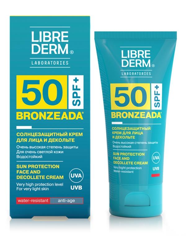Крем для лица и зоны декольте солнцезащитный SPF50 Bronzeada, Librederm, 50 мл солнцезащитный крем для лица виши