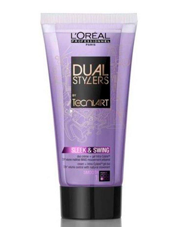 Крем-гель гладкость для непослушных волос Stylers Sleek &amp; Swing LorealГель для волос<br>Гель-крем подарит гладкость прическе даже при высокой атмосферной влажности и ветре. Он идеален для непослушных и волнистых локонов.<br><br>Бренды: Loreal Professional<br>Вид товара: Гель, воск<br>Область ухода: Волосы<br>Назначение: Стайлинг<br>Тип кожи, волос: Осветленные, мелированные, Окрашенные, Вьющиеся, Сухие, поврежденные, Нормальные, Тонкие<br>Косметическая линия: Линия Tecni Art для укладки волос