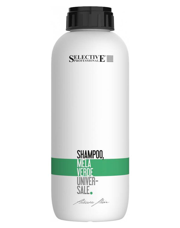 Шампунь Зелёное яблоко для всех типов волос Mella Verde, SelectiveШампуни для сухих волос<br>Шампунь на основе натурального экстракта зеленого яблока рекомендован для ухода за нормальными волосами. Нормализует водный баланс, питает волос по всей длине активными микроэлементами, делает их мягкими и крепкими.<br><br>Бренды: Selective<br>Вид товара: Шампунь<br>Область ухода: Волосы<br>Тип кожи, волос: Осветленные, мелированные, Окрашенные, Вьющиеся, Сухие, поврежденные, Жирные, Нормальные, Тонкие<br>Косметическая линия: ARTISTIC FLAIR Линия для ухода и укладки