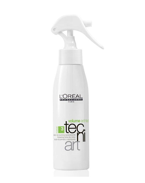 Утолщающий лосьон для брашинга Volume Architect LorealЛосьон для укладки волос<br>Лосьон увеличивает диаметр истонченных волос. Он обладает восстанавливающим эффектом. Препарат рекомендован для истонченных и слабых локонов.<br><br>Бренды: Loreal Professional<br>Вид товара: Тоник, лосьон<br>Область ухода: Волосы<br>Назначение: Стайлинг, Для объема<br>Тип кожи, волос: Осветленные, мелированные, Окрашенные, Вьющиеся, Сухие, поврежденные, Жирные, Нормальные, Тонкие<br>Косметическая линия: Линия Tecni Art для укладки волос