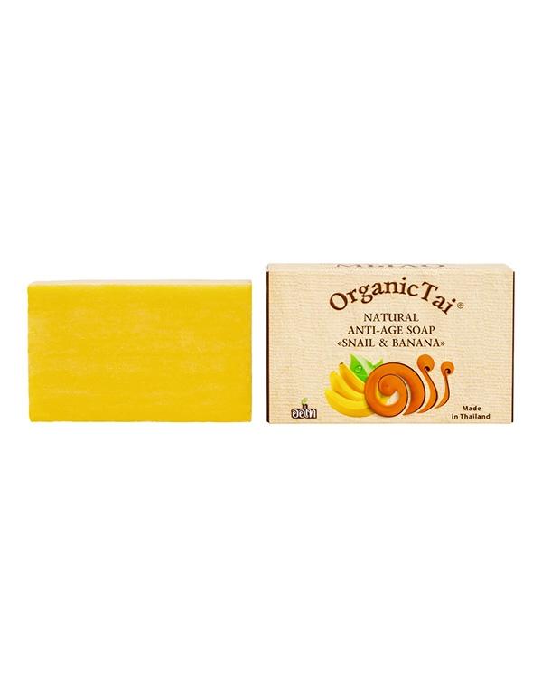 Мыло натуральное антивозрастное «Экстракт улитки и банан» Organic Tai, 100 г мыловаров натуральное мыло огуречное 2штx80 г