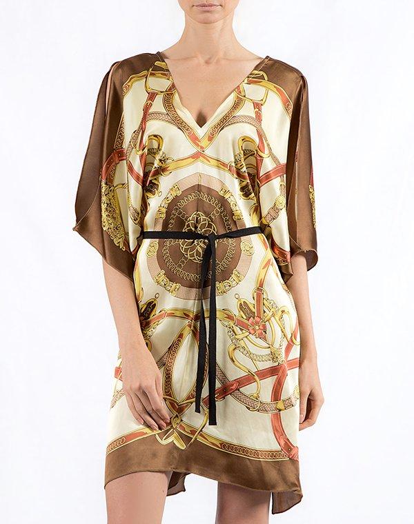 Pinko Платье бежево-золотое с цепями Veneto1