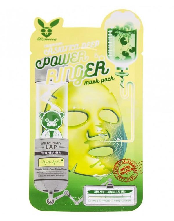 Тканевая маска на основе центеллы Centella Asiatika Deep Power Ringer Mask Pack Elizavecca, 23 мл х 10 шт